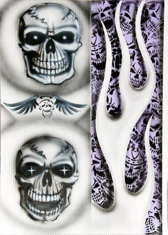 Stencil airbrushing skulls